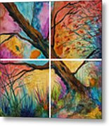 Patchwork Sky Tree Painting With Colorful Sky Metal Print