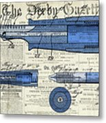 Patent, Old Pen Patent,blue Art Drawing On Vintage Newspaper Metal Print