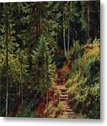 path in the woods 55h34 Ivan Ivanovich Shishkin Metal Print