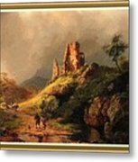 Path Next To The Ruins Of Belloque Castle L B With Decorative Ornate Printed Frame. Metal Print