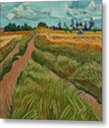 Path Through A Wheat Fields Metal Print