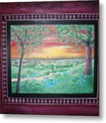 Path To The Pedernales River With Painted Frame Metal Print