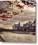 Pathway Along Kamo River In A Beautiful Dramatic Autumn Sunset S Metal Print