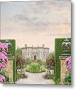Pathway Leading To A Mansion Through Beautiful Gardens Metal Print