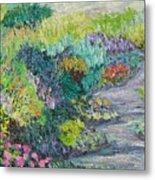Pathway Of Flowers Metal Print