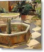 Patio Fountain In Seville Metal Print
