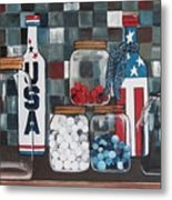 Patriotic Bottles And Jars Metal Print