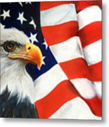 Patriotic Eagle And Flag Metal Print