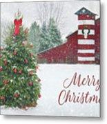 Patriotic Merry Christmas Metal Print