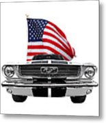 Patriotic Mustang On White Metal Print