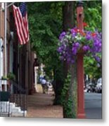 Patriotic Street In Philadelphia Metal Print