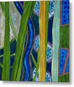 Pattern Out Of Grass And Stems And More  Metal Print