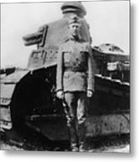 Patton Beside A Renault Tank - Wwi Metal Print