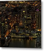 Paulus Hook, Jersey City Aerial Night View Metal Print
