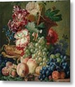 Paulus Theodorus Van Brussel - Still Life Of Flowers And Fruit On A Stone Ledge, Metal Print