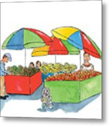 Paw Paw At The Market Metal Print
