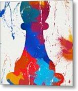 Pawn Chess Piece Paint Splatter Metal Print