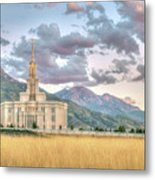 Payson Utah Lds Temple, Sunset View Of The Mountains And Grass Metal Print