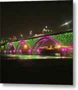 Peace Bridge At Night Metal Print