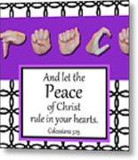 Peace - Bw Graphic Metal Print