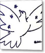 Peace Dove Serigraph In Blue As A Tribute To Pablo Picasso's Lithograph Of Love Bird With Flowers Metal Print