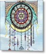 Peace Kite Dangle Illustration Art Metal Print