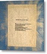 Peace Prayers - Buddhist Prayer For Peace Metal Print