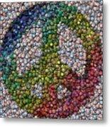 Peace Sign Bottle Cap Mosaic Metal Print