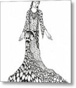 Peace Woman Wild Ink Metal Print