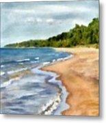 Peaceful Beach At Pier Cove Ll Metal Print