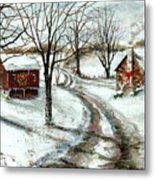 Peaceful Christmas Farm Metal Print