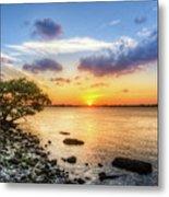 Peaceful Evening On The Waterway Metal Print by Debra and Dave Vanderlaan