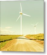 Peaceful Pastel Wind Farm Metal Print