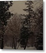 Peaceful Snow Dusk Metal Print