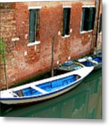 Peacefull Canal Parking Metal Print