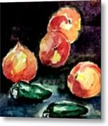 Peach And Peppers Metal Print