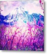 Peach Blossoms And Mount Lanborn Vi Metal Print
