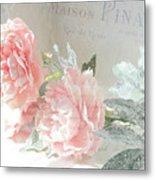 Peach Peonies Impressionistic Peony Floral Prints - French Impressionistic Peach Peony Prints Metal Print