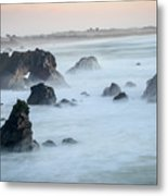 Peach Sky At Arched Rock Metal Print