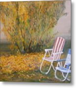Peach Tree And Winter Fog Metal Print