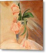 Peach Tulips Metal Print