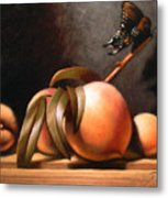 Peaches And Butterfly Metal Print by Timothy Jones