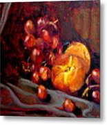 Peaches And Grapes Metal Print
