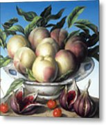 Peaches In Delft Bowl With Purple Figs Metal Print