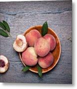 Peaches On A Dark Wooden Background Metal Print