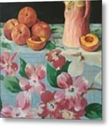 Peaches On Floral Tablecloth Metal Print