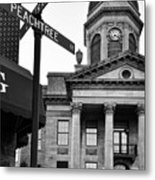 Peachtree And Central In Black And White Metal Print