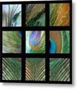 Peacock Feather Mosaic Metal Print