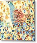 Peacock Hiding In My Poppy Garden Metal Print
