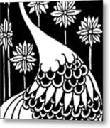 Peacock Illustration From Le Morte D'arthur By Thomas Malory Metal Print